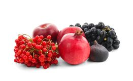 Ripe fruits and berries. On white background royalty free stock photos