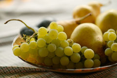 Ripe fruits close-up. Ripe autumn fruits in a dish close-up stock photography