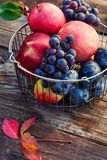 Ripe fruits in the iron basket Royalty Free Stock Photos