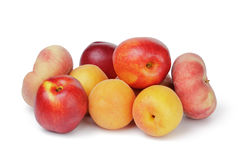 Ripe fruits peaches apricots and nectarines Stock Photos