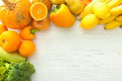 Ripe fruits and vegetables. On light background royalty free stock photos