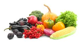 Ripe fruits and vegetables. On white background stock photo