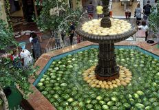 Ripe fruits of watermelon and melon lie in the fountain of the shopping complex stock image