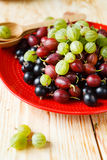 Ripe gooseberries and currants Stock Photos