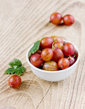Ripe gooseberries in a white plate Stock Photography