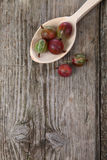 Ripe gooseberries in a wooden spoon Royalty Free Stock Images