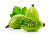 Ripe gooseberry on the white background Stock Photo