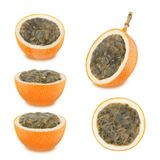 Ripe granadilla collection. As design elements. Royalty Free Stock Images