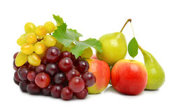 Ripe grape, red apples and pears Stock Photo