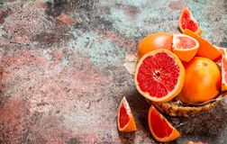 Ripe grapefruit in the basket royalty free stock images