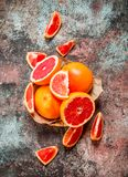 Ripe grapefruit in the basket royalty free stock photos