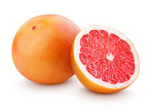Ripe grapefruit citrus fruit with half isolated on white stock photos