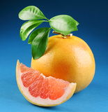 Ripe grapefruit with section royalty free stock photos