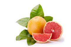Ripe grapefruit on a white background. Royalty Free Stock Images