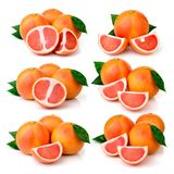 Ripe grapefruits with green leaves  Royalty Free Stock Image
