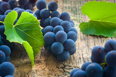 Ripe grapes. On a wooden table Royalty Free Stock Image
