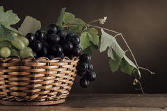 Ripe grapes in a basket still life Stock Image