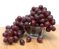 Ripe grapes in a glass bowl close up Royalty Free Stock Photos