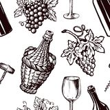Ripe grapes, wicker bottle and glass for wine seamless pattern Royalty Free Stock Images