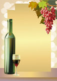 Ripe grapes, wine glass and bottle wine . Stock Photo