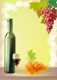 Ripe grapes, wine glass and bottle wine . Royalty Free Stock Photography