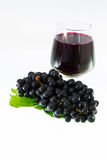 Ripe grapes and wine isolate Stock Images