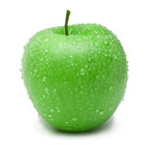 Ripe green apple. Fresh ripe green apple covered by water drops. Isolated on white background Royalty Free Stock Images