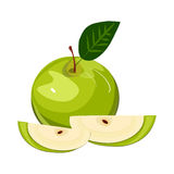 Ripe green apple with leaf slice isolated vector. Ripe green apple with leaf and slice vector. Set of green apple fruits with cut and green leaves. Vector sweet Stock Photo