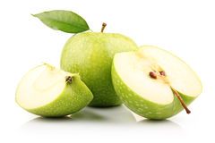 Ripe green apple with slices isolated on white Royalty Free Stock Photo