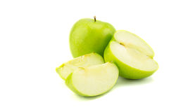 Ripe green apple with slices isolated Stock Image