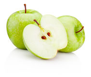 Ripe green apples and half isolated on white background Stock Image