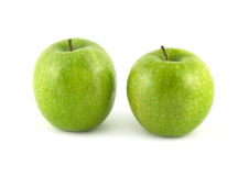 Ripe green apples isolated closeup Stock Photos