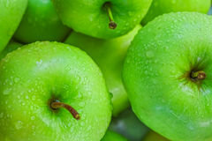 Ripe green apples o. N wooden background Royalty Free Stock Photo