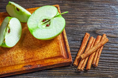 Ripe green apples on wooden. Background Royalty Free Stock Photo