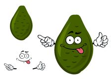 Ripe green avocado fruit cartoon character Royalty Free Stock Images