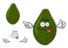 Ripe green avocado fruit cartoon character Royalty Free Stock Images
