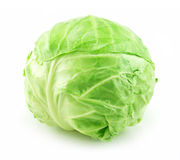 Ripe Green Cabbage Isolated on White. Background Stock Photos