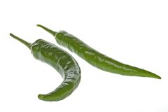 Ripe green chili peppers Stock Images