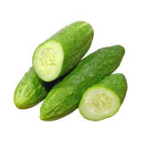 Ripe green cucumbers taken closeup.Isolated. Stock Photo