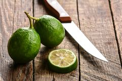Ripe green cut limes Stock Image