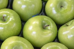 Ripe green fresh juicy apples for background