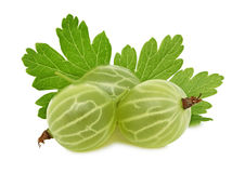 Ripe green gooseberry with green leaves (isolated) Stock Photo