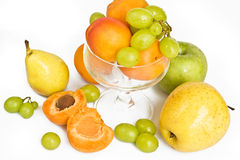 Ripe green grape ,pear and apricots Stock Photo
