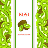 Ripe green kiwifruit vertical seamless border. Vector illustration card with composition Juicy fresh kiwi fruits slice, leaf appet Stock Photos