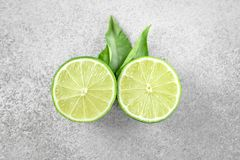 Ripe green lime citrus fruit with leaf. Ripe fresch green lime citrus fruit with leaf Stock Photo