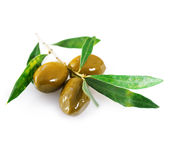 Ripe green olives with leaves Stock Images