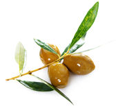 Ripe green olives with leaves Royalty Free Stock Images