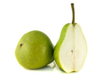 Ripe green pear with half on white background. Stock Photography