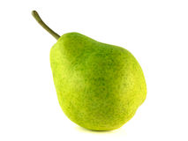 Ripe green pear on white background. Royalty Free Stock Photo