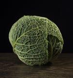 Ripe green savoy cabbage. Royalty Free Stock Image